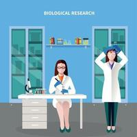 Scientists People Colored Composition Vector Illustration
