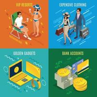 Rich People Isometric Design Concept Vector Illustration