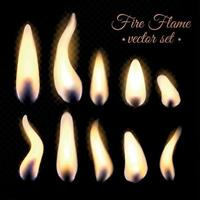 Fire Flame Realistic Set Vector Illustration