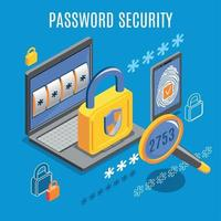 Password Security Isometric Background Vector Illustration
