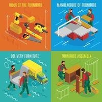 Furniture Makers Isometric Design Concept Vector Illustration