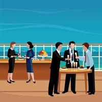 Flat Colored Business Lunch People Vector Illustration