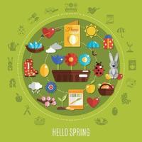 Spring Easter Flat Concept Vector Illustration