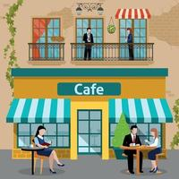 Business Lunch People Flat Composition Vector Illustration