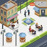 Isometric Business Lunch People Composition Vector Illustration