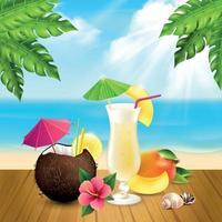 Cocktails Realistic Pina Colada Composition Vector Illustration