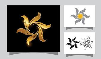Golden Circle Feather Sign vector