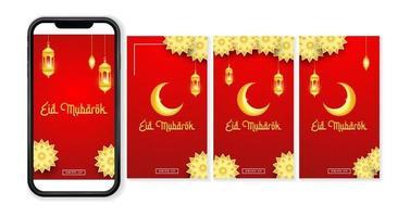 set of luxury eid mubarak background for social media post vector