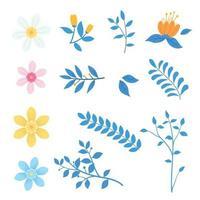 Set of Floral Blooming garden flowers vector