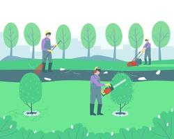Gardening handyman cleaning the park vector