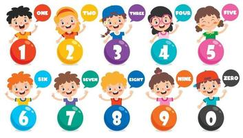 Concept Of Multi Colored Numbers vector