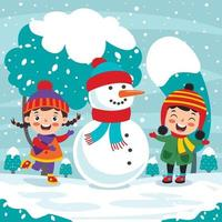 Funny Kids Playing At Winter vector