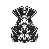 logo character pirate holding wrench vector illustration