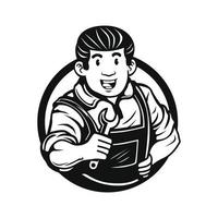 Illustration of a smiling mechanic worker holding wrench vector illustration