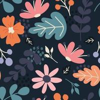 Flowers, plants, berries. Vector seamless pattern in flat style on dark blue background