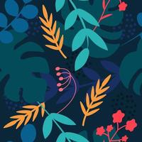 Tropical plants on a dark blue background. Monstera leaves palm trees vector
