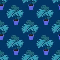 A monstera plant in a pot on a dark blue background Vector seamless pattern