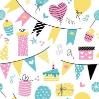 Birthday decor balloons cakes gifts holiday flags Vector seamless pattern