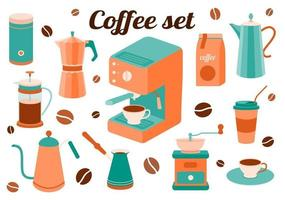 Coffee set of kitchen accessories vector