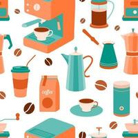 Coffee theme seamless pattern vector
