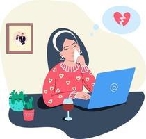 una niña infeliz está triste al enterarse de la ruptura de una relación en la computadora vector