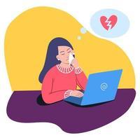 una niña infeliz está triste al enterarse de la ruptura en la computadora vector