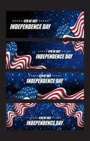 Set of 4th Of July Independence Day Cards vector