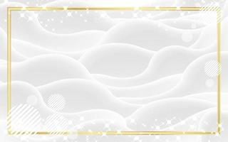 fondo blanco abstracto con marco dorado vector