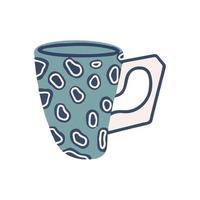 una taza con un patrón de leopardo aislado en un fondo blanco. Ilustración de dibujos animados plana. ilustración vectorial vector