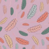 feathers seamless pattern in boho style .  vector illustration