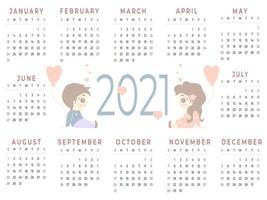 calendario 2021 12 meses vector