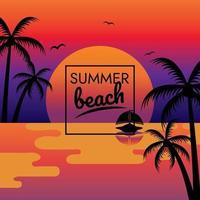 vector de cartel de fiesta de playa puesta de sol de vacaciones