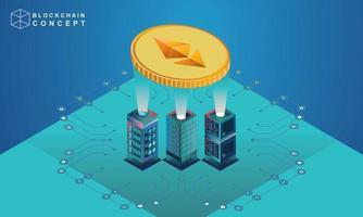 concepto de análisis de datos de tecnología de cadena de bloques para inversores, soluciones de marketing o rendimiento financiero, ilustración de concepto de estadísticas de moneda criptográfica, vector isométrico de diseño plano moderno