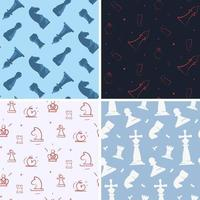 Set of seamless patterns with chess pieces vector