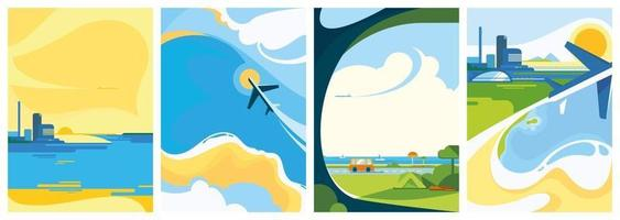 Collection of travel posters vector