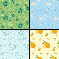 Set of summer seamless patterns vector