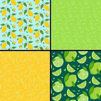 Set of seamless patterns with citrus fruits vector