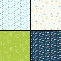 Set of seamless patterns with travel elements vector