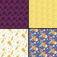 Set of seamless patterns with musical instruments vector