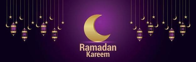 Ramadan kareem islamic festival banner or header with arabic golden lantern and moon vector