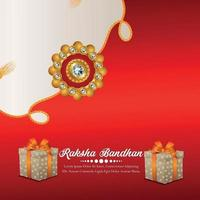 Indian festival of brother and sister happy raksha bandhan greeting card with vector gifts