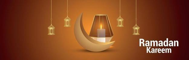 Ramadan kareem islamic festival banner or header with creative illustration vector