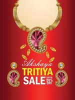 Akshaya tritiya indian jewellery sale flyer with gold coin and necklace vector