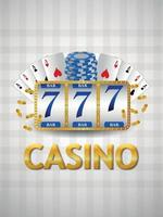 Realistic casino background with slot machine playing cards and chips vector