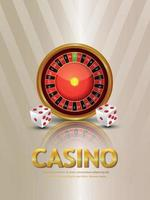 Casino gambling game with roulette wheel and dice vector