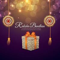 Vector illustration of happy raksha bandhan invitation greeting card with vector rakhi and gift