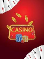 Casino luxury vip realistic vector playing cards gold coin and chips