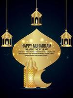 Happy muharram islamic new year with golden lantern and moon vector