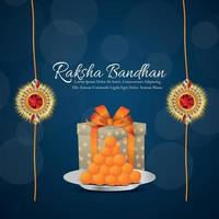 Indian festival of happy raksha bandhan invitation background with gifts vector
