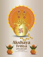 Akshaya tritiya invitation sale flyer with gold coin pot and kalash vector